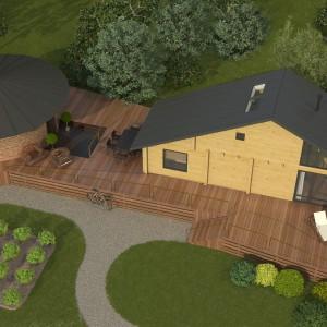 План участка: Жилой летний дом, терраса, баня